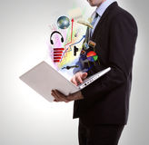 Business man with laptop. Royalty Free Stock Image