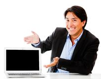 Business man with a laptop Royalty Free Stock Photo
