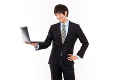 Business man and laptop. Royalty Free Stock Photography