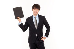 Business man and laptop. Royalty Free Stock Image