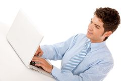 Business man with a laptop Royalty Free Stock Image