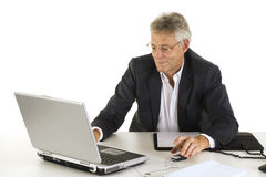 Business man with laptop Stock Photos