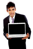 Business man with laptop Stock Photography