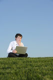 Business man on a laptop Royalty Free Stock Photos