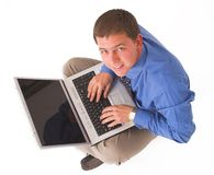 Business man with laptop. Businessmnan working on laptop Royalty Free Stock Photo