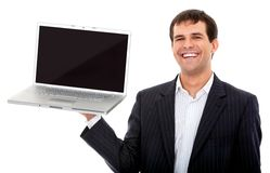 Business man with a laptop computer Stock Image