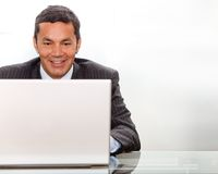 Business man on a laptop computer Stock Photo