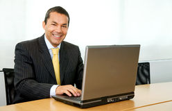 Business man on a laptop computer Stock Photography