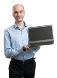 Business man with a laptop computer Royalty Free Stock Photo