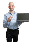Business man with a laptop computer Royalty Free Stock Images