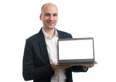 Business man with a laptop computer Royalty Free Stock Photography
