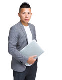 Business man with laptop computer Royalty Free Stock Images
