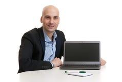 Business man with laptop computer Stock Photos