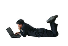 Business man laptop - floor ar Royalty Free Stock Images