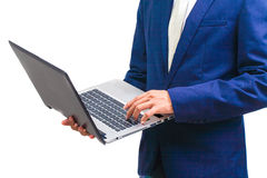 Business man with laptop Royalty Free Stock Images