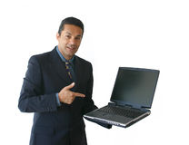 Business man with laptop - je Stock Image