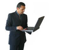Business man laptop - standing 2 Royalty Free Stock Images