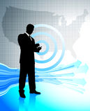 Business man with laptop on United States map Royalty Free Stock Photos
