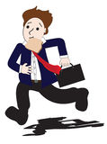 Business man late. Run isolated vector illustration