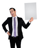 Business man laugh at empty file Royalty Free Stock Image