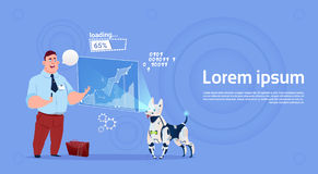 Business Man Leading Presentation On Digital Screen With Robot Dog Projector Royalty Free Stock Image