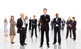 Business man leading a team. Isolated over a white background royalty free stock photography