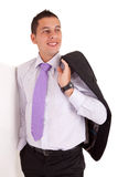 Business man leaning against wall Royalty Free Stock Photography