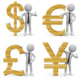 Business man leaning on the currency signs Royalty Free Stock Photos