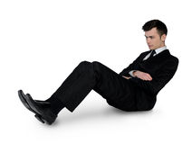 Business man leaning floor Royalty Free Stock Photo