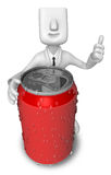 Business Man leaning on The Red cans Stock Photo