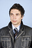 Business  man in leather jacket Stock Photo
