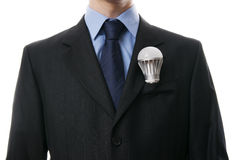 Business man with LED light bulb Royalty Free Stock Images