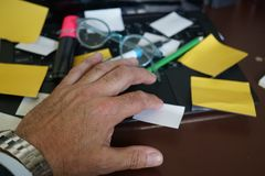 Business man left hand. Selective focus Royalty Free Stock Photography