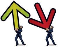 Business man lifting arrow stock illustration