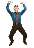 Business man lifting invisible object Stock Image