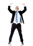 Business man lifting something Royalty Free Stock Photography