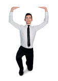 Business man lifting something. Isolated business man lifting something Stock Photography