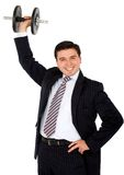 Business man lifting weights Royalty Free Stock Photo