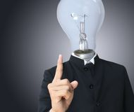 Business man light bulb head Royalty Free Stock Photos