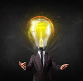 Business man with light bulb head concept Royalty Free Stock Images