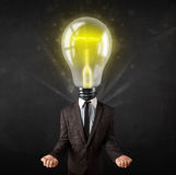 Business man with light bulb head concept Stock Images