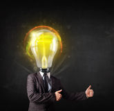 Business man with light bulb head concept Stock Photography