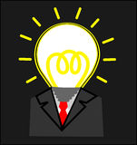 Business man with Light bulb head. On Gray background Royalty Free Stock Photos