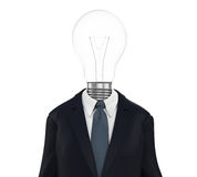 Business Man with Light Bulb Head. On white background. 3D render Royalty Free Stock Photography