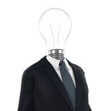 Business Man with Light Bulb Head. On white background. 3D render Stock Images