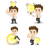 Business man with light bulb Royalty Free Stock Photos