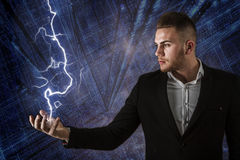 Business Man And Lightning Stock Images