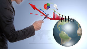 Business man look earth. And business graph under a magnifying glass Stock Images