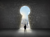 Free Business Man Looking At Keyhole With Bright Cityscape Concept Stock Photography - 51068042