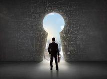 Free Business Man Looking At Keyhole With Bright Cityscape Concept Stock Photo - 70632860